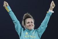 In this Aug. 19, 2016 file photo, Chloe Esposito of Australia celebrates winning the gold medal at the awards ceremony of the women's modern pentathlon at the Summer Olympics in Rio de Janeiro, Brazil. (AP Photo/Natacha Pisarenko)