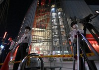 The scene of the incident in Osaka's Kita Ward is seen at 7:18 p.m. on Oct. 23, 2020. (Mainichi/Rei Kubo)