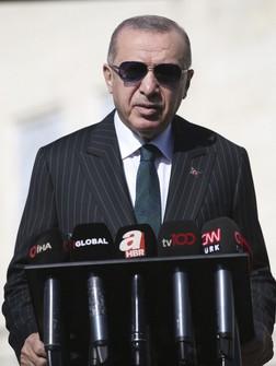 Turkey's President Recep Tayyip Erdogan speaks to the media in Istanbul on Oct. 23, 2020. (Turkish Presidency via AP, Pool)