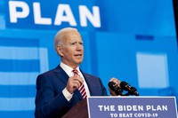 Democratic presidential candidate former U.S. Vice President Joe Biden speaks about coronavirus at The Queen theater in Wilmington, Delaware, on Oct. 23, 2020. (AP Photo/Andrew Harnik)