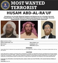 This image released by the FBI shows the wanted poster of al-Qaida propagandist Husam Abd al-Rauf, also known by the nom de guerre Abu Muhsin al-Masri. (FBI via AP)