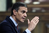 Spain's Prime Minister Pedro Sanchez speaks during a parliamentary session in Madrid, Spain, Wednesday Oct. 21, 2020. (AP Photo/Manu Fernandez, Pool)