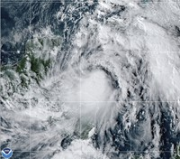 This satellite image provided by the National Oceanic and Atmospheric Administration shows Tropical Storm Zeta, on Oct. 25, 2020, at 2110 GMT. (NOAA/NESDIS/STAR via AP)
