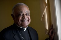 This June 2, 2019 file photo, shows Washington D.C. Archbishop Wilton Gregory posed for a portrait following mass at St. Augustine Church in Washington. (AP Photo/Andrew Harnik)
