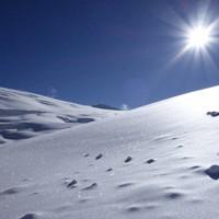 ダウラギリⅠの第1キャンプ上方、5800メートル付近の朝=2019年9月30日、藤原章生撮影