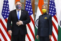 U.S. Secretary of State Mike Pompeo, left, and India's External Affairs Minister Subrahmanyam Jaishankar stand during a photo opportunity ahead of their meeting at the Hyderabad House in New Delhi, India, on Oct. 26, 2020. (Adnan Abidi/Pool via AP)