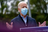 Democratic presidential candidate former Vice President Joe Biden speaks to members of the media outside a voter service center, on Oct. 26, 2020, in Chester, Pa. (AP Photo/Andrew Harnik)
