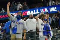 Los Angeles Dodgers fans cheer during the seventh inning in Game 5 of the baseball World Series against the Tampa Bay Rays onOct. 25, 2020, in Arlington, Texas. (AP Photo/Eric Gay)