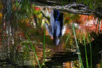 A woman wearing a face mask to help curb the spread of the coronavirus is reflected on the water while walking along a pond as the trees begin to turn color, on Oct. 27, 2020, in Nagano, northwest of Tokyo. (AP Photo/Kiichiro Sato)