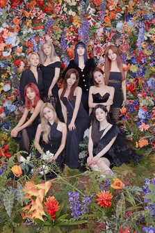 This August 2020 photo released by JYP Entertainment shows a South Korean girl group TWICE in Seoul, South Korea. (Kim Oi Mil, JYP Entertainment via AP)