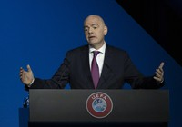 In this March 3, 2020 file photo, FIFA President Gianni Infantino addresses a meeting of European soccer leaders at the congress of the UEFA governing body in Amsterdam, Netherlands. (AP Photo/Peter Dejong)