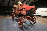 An ornamented carriage is seen on display at the Meiji Jinju Museum in Tokyo's Shibuya Ward on the afternoon of Oct. 28, 2020. (Pool photo)
