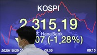 A currency trader walks by the screen showing the Korea Composite Stock Price Index (KOSPI) at the foreign exchange dealing room in Seoul, South Korea, on Oct. 29, 2020. (AP Photo/Lee Jin-man)