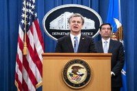 FBI Director Christopher Wray speaks during a virtual news conference at the Department of Justice, on Oct. 28, 2020 in Washington, as Assistant Attorney General for National Security John Demers looks on. (Sarah Silbiger/Pool via AP)