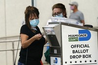 In this Oct. 19, 2020 photo, an election worker places a vote-by-mail ballot into an official ballot drop box outside an early voting site, in Miami. (AP Photo/Lynne Sladky)