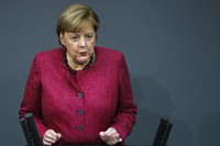 German Chancellor Angela Merkel delivers a speech about German government's policies to combat the spread of the coronavirus and COVID-19 disease at the parliament Bundestag in Berlin, Germany, on Oct. 29, 2020. (Photo/Markus Schreiber)