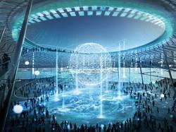 大阪・関西万博の会場イメージ図。会場内の5カ所に「空」(くう)と呼ばれる大広場を設置して、AR(拡張現実)など最新技術を活用した展示やイベントを計画する 経済産業省提供