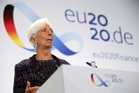 In this Sept. 11, 2020 file photo, European Central Bank President Christine Lagarde attends a news conference during the Informal Meeting of Economics and Finance Ministers in Berlin, Germany. (Hannibal Hanschke/Pool Photo via AP)