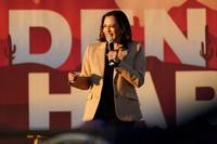 Democratic vice presidential candidate Sen. Kamala Harris, D-Calif., speaks at a mobile campaign event, on Oct. 28, 2020, in Phoenix. (AP Photo/Matt York)