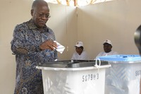 The ruling party CCM presidential candidate Dr. John Magufuli casts his vote at Chamwino in Dodoma, Tanzania, on Oct. 28, 2020. (AP Photo)