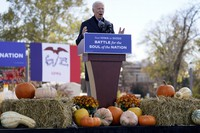 Democratic presidential candidate former Vice President Joe Biden speaks at a rally at the Iowa State Fairgrounds in Des Moines, Iowa, on Oct. 30, 2020. (AP Photo/Andrew Harnik)