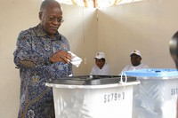 The ruling party CCM presidential candidate Dr. John Magufuli casts his vote at Chamwino in Dodoma on Oct. 28, 2020. (AP Photo)