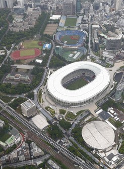 In this aerial photo taken on May 26, 2020, the National Stadium, the main venue for the 2020 Olympics and Paralympics, is seen in the center. (Mainichi)