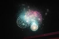 Fireworks are seen from Meiji Jingu's main shrine in Tokyo's Shibuya Ward during the