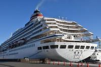 The cruise ship Asuka II is seen at Shimizu Port in Shizuoka's Shimizu Ward, on Nov. 4, 2020. (Mainichi/Rinnosuke Fukano)