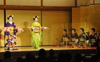 This Nov. 7, 2020 photo, taken at the Gion Corner theater in Kyoto's Higashiyama Ward, shows a special geisha and maiko stage with acrylic partitions set up in front of people in charge of music to prevent the spread of the new coronavirus. (Mainichi/Hiroshi Odanaka)