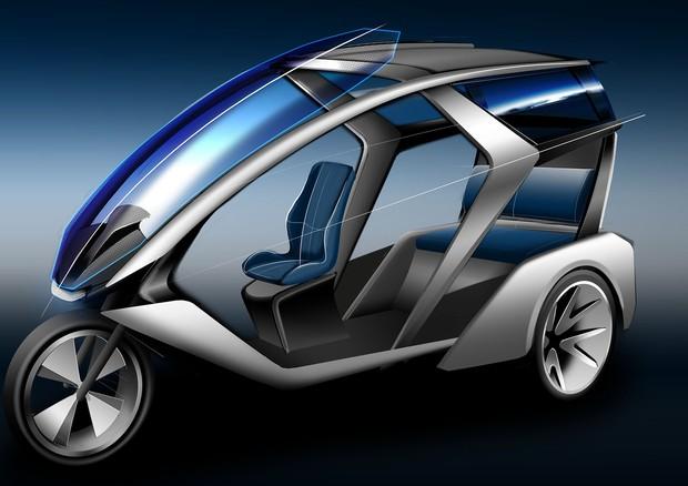 デザイン中のシェアリング型EV3輪。広告などと組み合わせ、無料の都市交通としての将来も見据える(同社提供)
