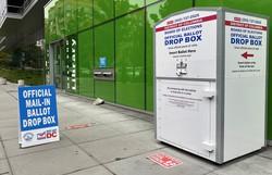 街中に投票箱が設置された 筆者撮影