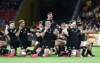 New Zealand's TJ Perenara leads the All Blacks in a haka prior to the start of the Bledisloe rugby test between Australia and New Zealand at Suncorp Stadium, Brisbane, Australia, on Nov.7, 2020. (AP Photo/Tertius Pickard)
