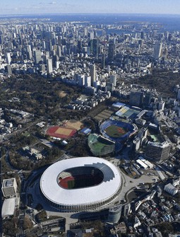 The Japan National Stadium, which will serve as the main stadium for the Tokyo Olympic and Paralympic Games, is seen from a Mainichi Shimbun helicopter in the capital's Shinjuku Ward in this Jan. 5, 2020 photo. (Mainichi)