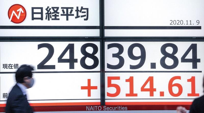 日経平均株価は、前週末に比べ500円以上値上がりした(11月9日)