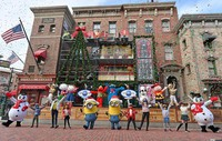 An opening ceremony for a special Christmas event is shown to the media at Universal Studios Japan in Osaka's Konohana Ward on Nov. 12, 2020. (Mainichi/Naohiro Yamada)