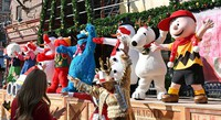 An opening ceremony for a special Christmas event is shown to the media at Universal Studios Japan in Osaka's Konohana Ward on Nov. 12, 2020. (Mainichi/Naohiro Yamada)