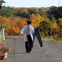 日課の洗濯をする震災で夫を亡くしたた女性。今は次男家族らと6人で暮らす。周りには色づいた木々が広がっていた=宮城県山元町で2013年11月20日、小川昌宏撮影
