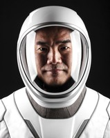 This June 25, 2020, photo made available by SpaceX shows JAXA astronaut Soichi Noguchi in a space suit at SpaceX headquarters in Hawthorne, Calif. (Sam Friedman/SpaceX via AP)