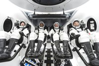 This undated photo made available by SpaceX in September 2020 shows, from left, NASA astronauts Shannon Walker, Victor Glover, commander Mike Hopkins and Japan Aerospace Exploration Agency astronaut Soichi Noguchi inside SpaceX's Crew Dragon spacecraft. (SpaceX via AP)