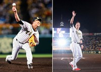 To the left, Japanese baseball player Kyuji Fujikawa of the Hanshin Tigers is seen pitching for the last time in his professional career in the ninth inning of a game against the Yomiuri Giants at Koshien stadium in Hyogo Prefecture, on Nov. 10, 2020. To the right, Fujikawa waves at fans during a ceremony following his last game at the Tiger's home Koshien stadium. (Pool photo)