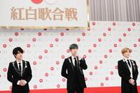Members of the band SixTONES speak about being chosen to make their debut performance at NHK's 71st Kohaku Uta Gassen singing contest, in Shibuya Ward, Tokyo, on Nov. 16, 2020. (Mainichi/Kota Yoshida)