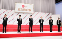 Members of the band SixTONES are seen at an event to announce theirs and others' debut performances at NHK's 71st Kohaku Uta Gassen singing contest, in Shibuya Ward, Tokyo, on Nov. 16, 2020. (Mainichi/Kota Yoshida)