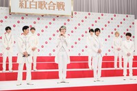 Members of the band Snow Man are seen at an event to announce theirs and others' debut performances at the 71st Kohaku Uta Gassen singing contest, in Shibuya Ward, Tokyo, on Nov. 16, 2020. (Mainichi/Kota Yoshida)