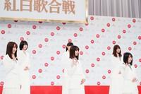 Some of Sakurazaka46 are seen at an event to announce their group will be one of 10 making their first appearances at NHK's 71st Kohaku Uta Gassen singing contest, in Shibuya Ward, Tokyo, on Nov. 16, 2020. (Mainichi/Kota Yoshida)