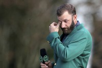 Dustin Johnson reacts as he is interviewed after winning the Masters golf tournament, on Nov. 15, 2020, in Augusta, Ga. (Curtis Compton/Atlanta Journal-Constitution via AP)
