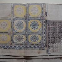 米ニューヨークにあった高峰邸の天井画の下絵とみられる牧野克次の装飾画=京都市上京区で2020年8月12日午前11時23分、南陽子撮影