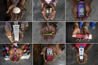 This combination of November 2020 photos shows the hands of five generations of women from a family that has worked on the same palm oil plantation since the early 1900s, ranging in age from 6 to 102. They each hold products made by iconic Western companies that source palm oil from Indonesia and Malaysia. (AP Photo)