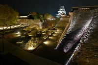Kumamoto Castle is lit up on a trial basis in Kumamoto's Chuo Ward on Nov. 16, 2020, ahead of a festival at the city icon damaged in the 2016 Kumamoto earthquakes. (Mainichi/Kohei Shimizu)