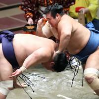 千代の国(右)がはたき込みで妙義龍を破る=東京・両国国技館で2020年11月19日、宮武祐希撮影
